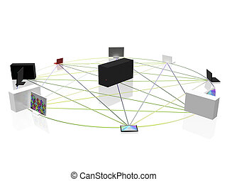 Computer network - Conceptual computer network in circle