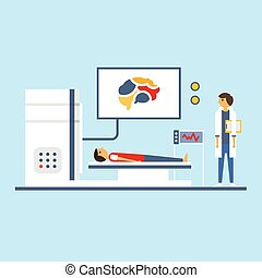 Brain Scanning, Flat Vector Illustration. - Doctor scanning...