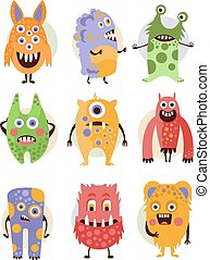 Funny Emotional Cartoon Monsters, Vector Illustration Set