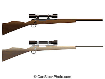 hunting rifle - Two wooden hunting rifles with sight and...