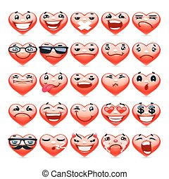 Valentine Heart Emoticons Collection for Romantic Project....