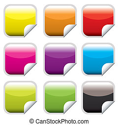 square web button bright - Bright colored square web buttons...