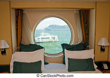 View Past Cabin Bed Through Porthole - A view in a nice...