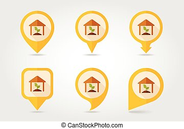 Greenhouse flat mapping pin icon with long shadow, eps 10
