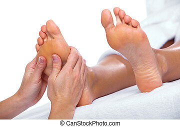 Foot massage. - Beautiful woman having foot massage....