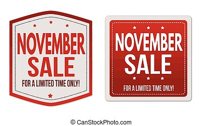 November sale stickers set
