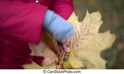 Woman making a wreath of maple leaves - Woman making a...