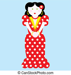 typical spanish flamenco vector illustration - Woman typical...