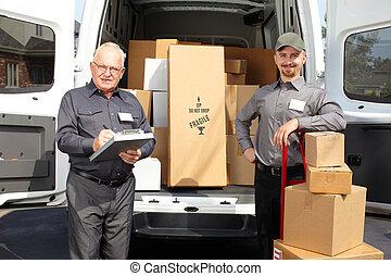entrega, camión, hombres, grupo, envío