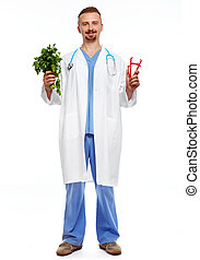 Doctor with body fat calipers and parsley. - Doctor with...