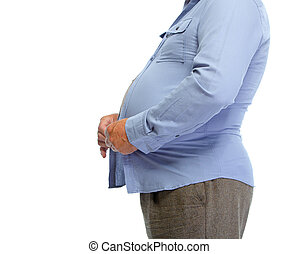 Fat man belly - Senior man with fat stomach Lose weight...