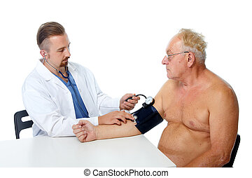 Doctor checking patient blood pressure.