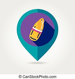 Torpedo lifeguard buoy flat mapping pin icon - Support, help...