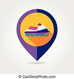 Jet Ski flat mapping pin icon with long shadow, eps 10