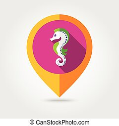 Sea Horse flat mapping pin icon with long shadow, eps 10