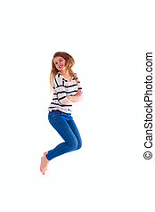 smiling  girl in white blank t-shirt jumping