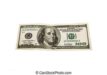 One hundred dollar bill isolated on a white background