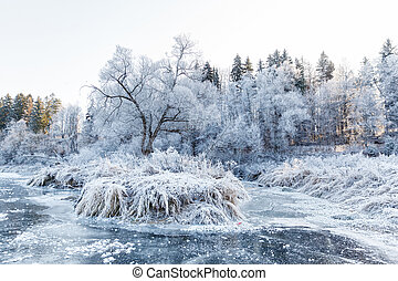 Winter landscape, river under the ice