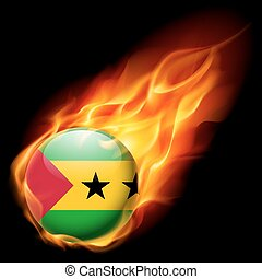 Round glossy icon of Sao Tome and Principe - Flag of Sao...
