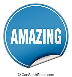 amazing round blue sticker isolated on white