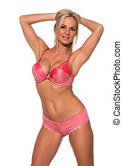 Pink lingerie - Beautiful Czech blonde dressed in pink...