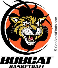 bobcat basketball team design with mascot inside a large...