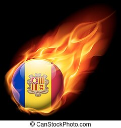 Round glossy icon of Andorra - Flag of Andorra as round...