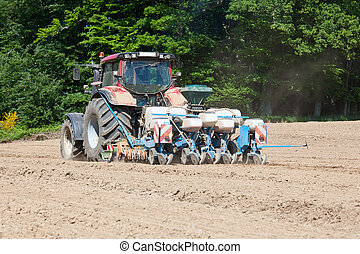 Farmer power harrowing and planting the maize crop in spring