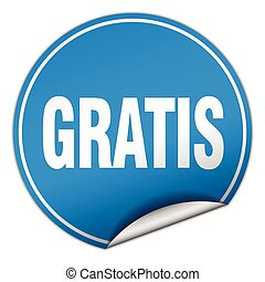 gratis round blue sticker isolated on white