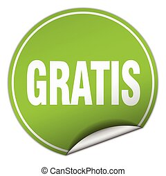 gratis round green sticker isolated on white