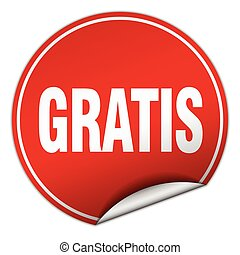 gratis round red sticker isolated on white