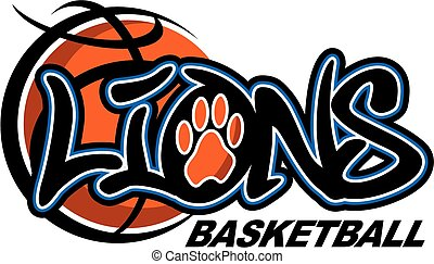 lions basketball team design with large ball and paw print