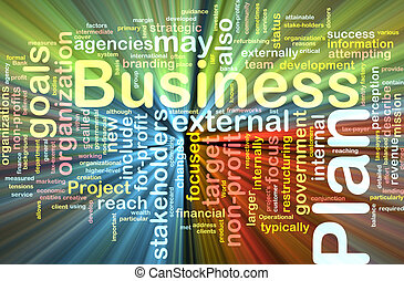 Business plan word cloud glowing - Word cloud concept...