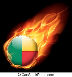 Round glossy icon of Benin - Flag of Benin as round glossy...