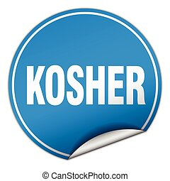 kosher round blue sticker isolated on white