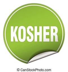 kosher round green sticker isolated on white