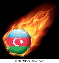 Round glossy icon of Azerbaijan - Flag of Azerbaijan as...