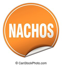 nachos round orange sticker isolated on white
