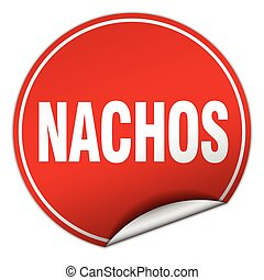nachos round red sticker isolated on white