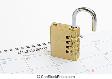 New Year Padlock on a Generic 2016 Calendar - A padlock...