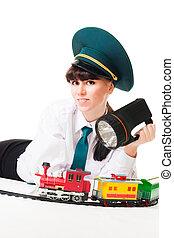 Positive railroad worker woman