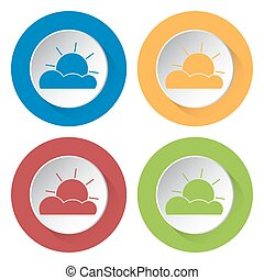 set of four icons - partly cloudy - set of four colored...
