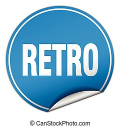 retro round blue sticker isolated on white