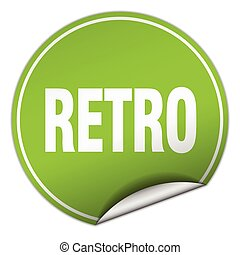 retro round green sticker isolated on white