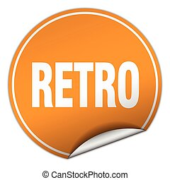 retro round orange sticker isolated on white