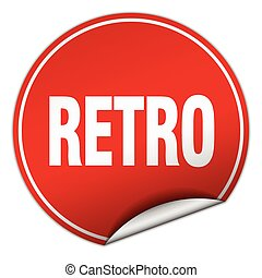 retro round red sticker isolated on white