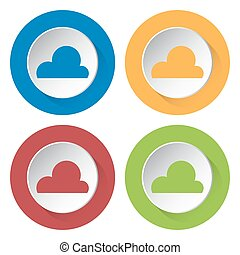 set of four icons - cloud, cloudy