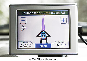Navigation system  - GPS navigation system in traveling car
