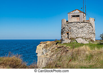 Paldiski cliffs Estonia, EU - Ruined lighthouse on a cliffs...