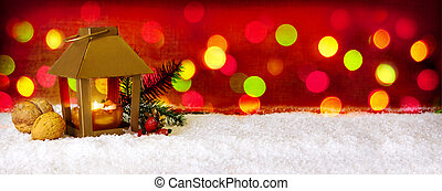 Christmas background with lantern and colorful lightsGolden...